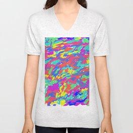 'Splattering of 80's' Abstract Digital Painting Print Unisex V-Neck
