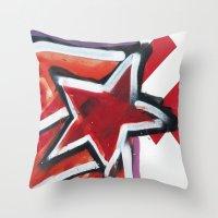 grafitti Throw Pillows featuring Grafitti Star by Leslie Philipp