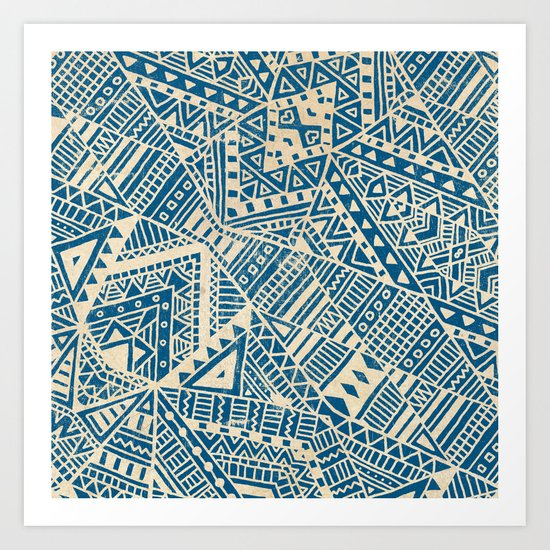 Tribal (blue)  Art Print