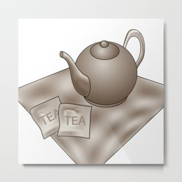 Vintage Tea time Metal Print
