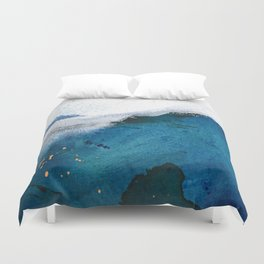 In the Surf: a vibrant minimal abstract painting in blues and gold Duvet Cover