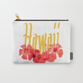 Hawaii Text With Aloha Hibiscus Garland Carry-All Pouch