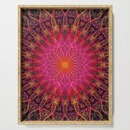 Mandala in red, orange in pink tones Serving Tray