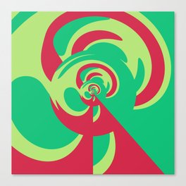 Nouveau Retro Graphic Red and Green Canvas Print