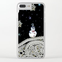 Pearly White Snow Night, Scanography Clear iPhone Case