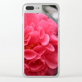Pink Camellias Clear iPhone Case