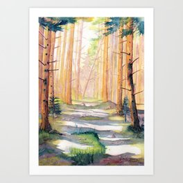 Down The Forest Path Art Print