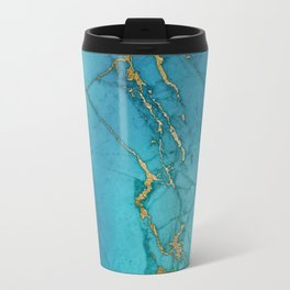 Blue and gold marble stone print Travel Mug