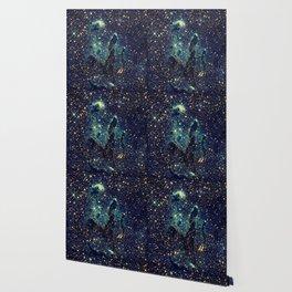 Pillars of Creation GalaxY  Teal Blue & Gold Wallpaper