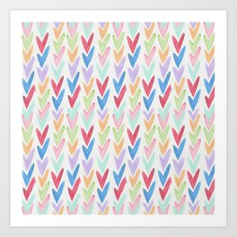 Modern hand painted colorful watercolor abstract chevron Art Print