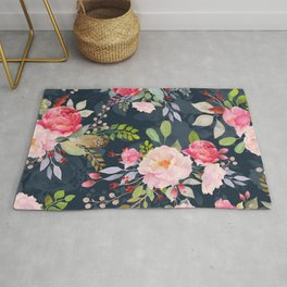 Beautiful Watercolor Floral Flower Pattern Pink Peony Flowers Floral Kingdom Rug