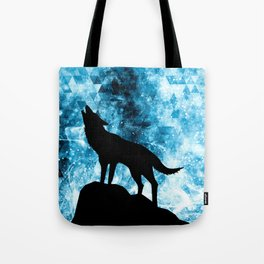 Howling Winter Wolf snowy blue smoke Tote Bag