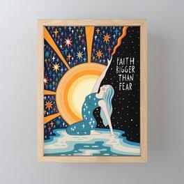 Faith bigger than fear Framed Mini Art Print