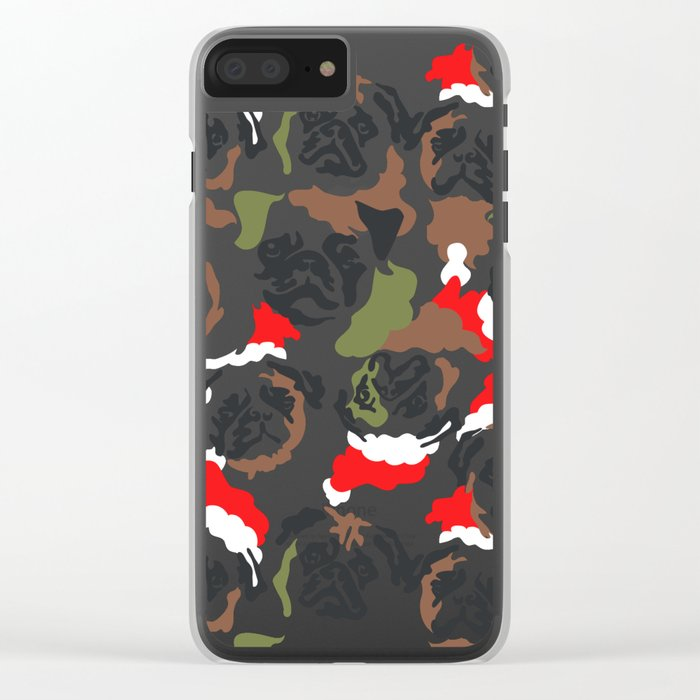 Pugly Camo X-Mas Clear iPhone Case