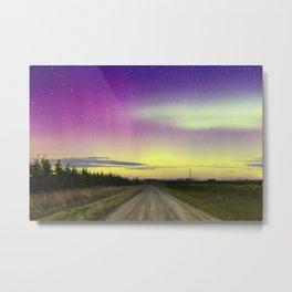 Aurora Lights Over Rural Road Landscape Metal Print