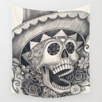 dia de los muertos Wall Tapestries featuring Dia de Los Muertos by afzucatti