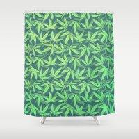 cannabis Shower Curtains featuring  Cannabis / Hemp / 420 / Marijuana  - Pattern by badbugs_art