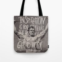 chuck Tote Bags featuring CHUCK CLOSE by Josh LaFayette
