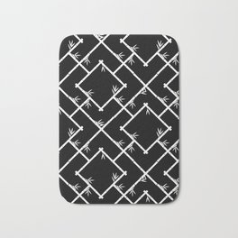 Bamboo Chinoiserie Lattice in Black + White Bath Mat