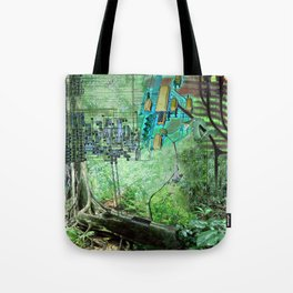 Digital Circuit Jungle Tree, creatures of the electronic age Tote Bag