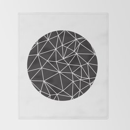 Black and White Geometric Circle Throw Blanket