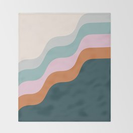 Abstract Diagonal Waves in Teal, Terracotta, and Pink Throw Blanket