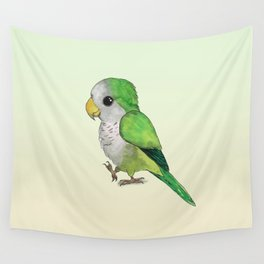 Very cute green parrot Wall Tapestry