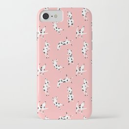 Happy Dogs Pattern Illustration on Pink Background iPhone Case