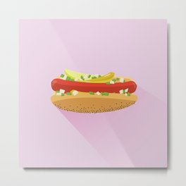 Flat Vector Chicago Dog Metal Print