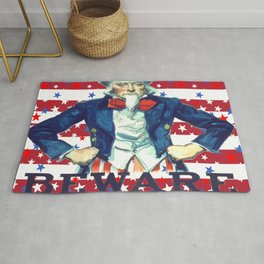 Beware of The Wrath of the Patient Man Stars And Stripes Rug