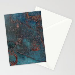 Antique Map Teal Blue and Copper Stationery Cards