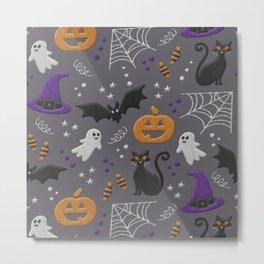 Halloween party symbols grey embroidery print Metal Print