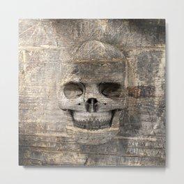 Wood Skull 02 Metal Print