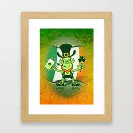 Green Leprechaun Drinking a Toast Framed Art Print