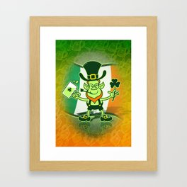 Green Leprechaun Drinking a Toast Framed Art Print