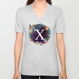 Personalized Monogram Initial Letter X Floral Wreath Artwork Unisex V-Neck