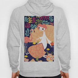 Girl with flamingo and Henri Matisse inspired decoration, vector illustration, blue Hoody
