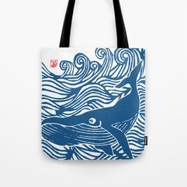 Japan Sea Whale Art Lino Tote Bag