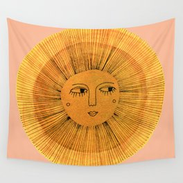 Sun Drawing Gold and Pink Wall Tapestry
