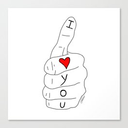 I love you - thumbs up Canvas Print