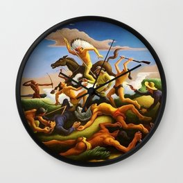Classical Masterpiece 'Little Big Horn - Custer's Last Stand' by Thomas Hart Benton Wall Clock