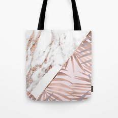 Rose gold marble & tropical ferns Tote Bag