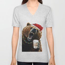 Grizzly Mornings Christmas Unisex V-Neck