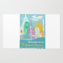 WPA Style Downtown (Detroit) Illustrated Print  Rug
