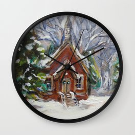 Little white country church chapel Wintry scene Wall Clock
