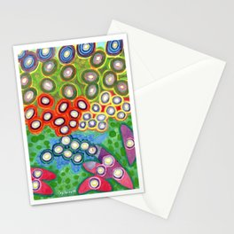 Colorful Circles Swimming in Green Stationery Cards