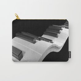 Keyboard of a piano waving on black background - 3D rendering Carry-All Pouch
