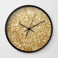 gold glitter Wall Clocks featuring Gold glitter by Masanori Kai