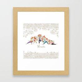 Yoga Girls_Namaste_Poses and Flowers Large scale Framed Art Print