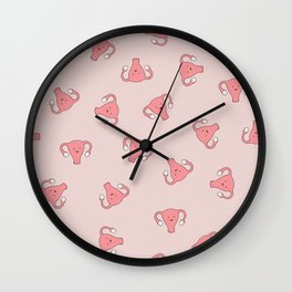Crazy Happy Uterus in Pink, Large Wall Clock